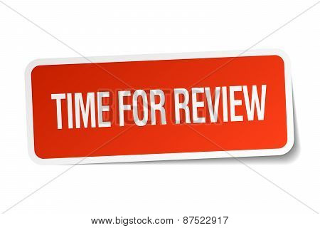 Time For Review Red Square Sticker Isolated On White
