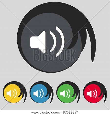 Speaker Volume, Sound Icon Sign. Symbol On Five Colored Buttons. Vector