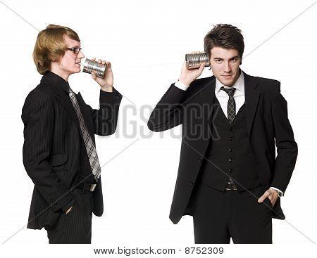 Two men communicating