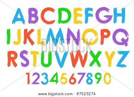 Cheerful colorful vector alphabet typography set.