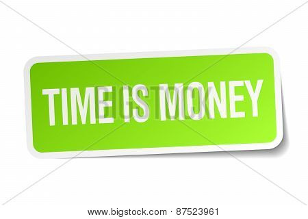 Time Is Money Green Square Sticker On White Background