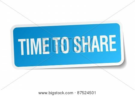 Time To Share Blue Square Sticker Isolated On White