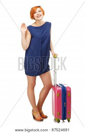 Full Length Portrait Of A Young Woman Standing With A Pink Travel Suitcase And Waving Goodbye