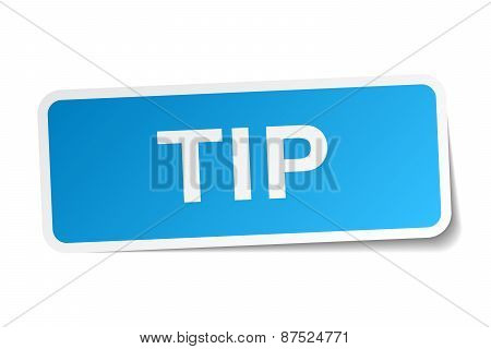 Tip Blue Square Sticker Isolated On White