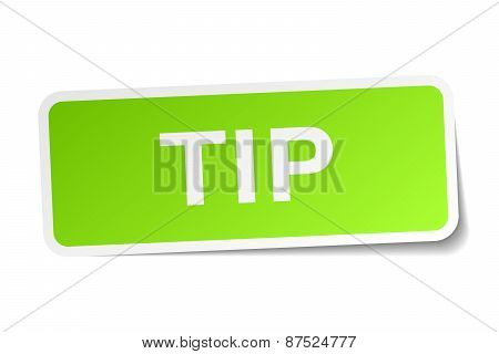 Tip Green Square Sticker On White Background