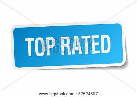 Top Rated Blue Square Sticker Isolated On White