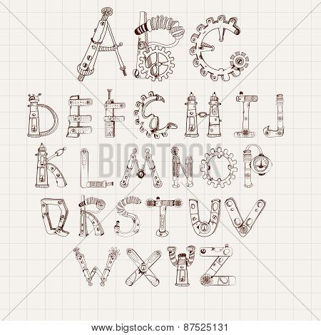 Mechanical Alphabet Set