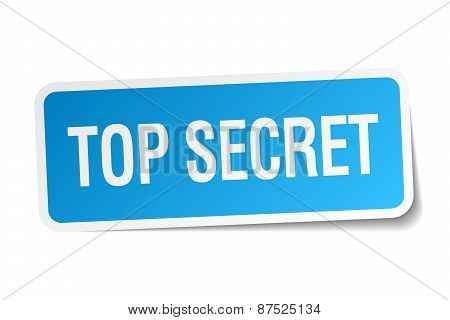 Top Secret Blue Square Sticker Isolated On White