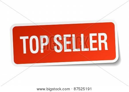 Top Seller Red Square Sticker Isolated On White