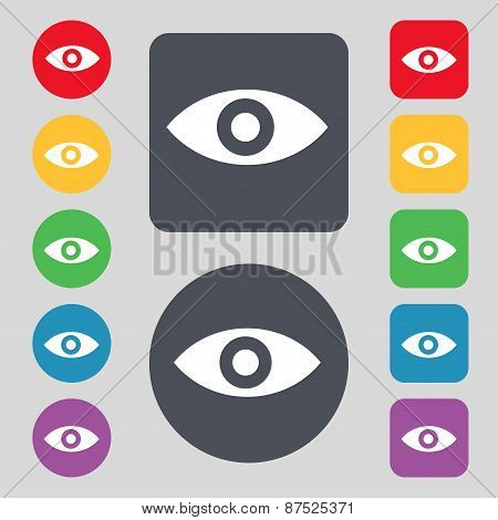 Eye, Publish Content, Sixth Sense, Intuition Icon Sign. A Set Of 12 Colored Buttons. Flat Design. Ve