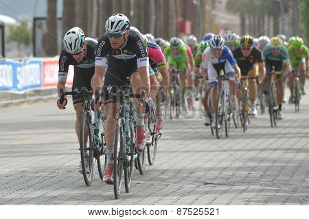 MARMARIS, TURKEY - APRIL 30, 2014: Riders on the finish of 4th stage of 50th Presidential Cycling Tour of Turkey. The leader and winner is Mark Cavendish (in the front) from OPQ team