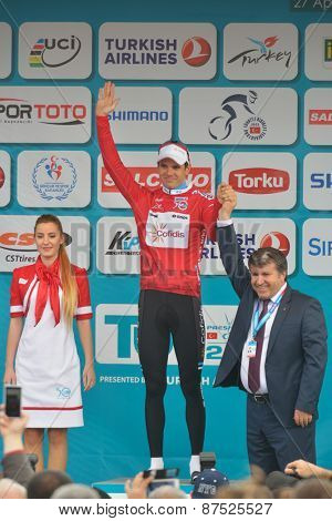 MARMARIS, TURKEY - APRIL 30, 2014: Rein Taaramae from the team Cofidis keep the Red Jersey for climbing after 4th stage of 50th Presidential Cycling Tour of Turkey