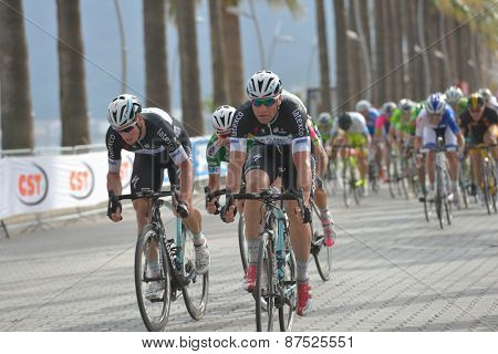 MARMARIS, TURKEY - APRIL 30, 2014: Riders on the finish of 4th stage of 50th Presidential Cycling Tour of Turkey. The leader and winner is Mark Cavendish (in center)  from OPQ team
