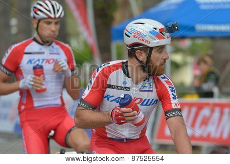 MARMARIS, TURKEY - APRIL 30, 2014: Luca Paolini (center) and Maxim Belkov from Team Katusha after the finish of 4th stage of 50th Presidential Cycling Tour of Turkey