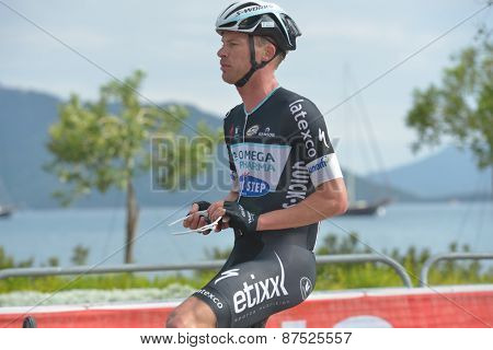 MARMARIS, TURKEY - APRIL 30, 2014: Iljo Keisse from OmegaPharma - Quick Step Cycling Team on the finish of 4th stage of 50th Presidential Cycling Tour of Turkey