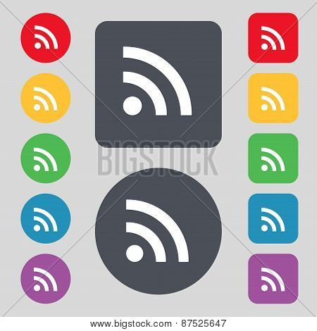 Wifi, Wi-fi, Wireless Network Icon Sign. A Set Of 12 Colored Buttons. Flat Design. Vector