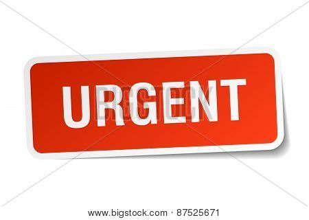 Urgent Red Square Sticker Isolated On White