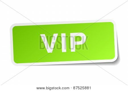 Vip Green Square Sticker On White Background