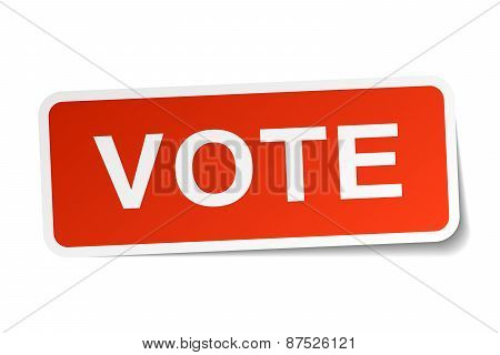 Vote Red Square Sticker Isolated On White