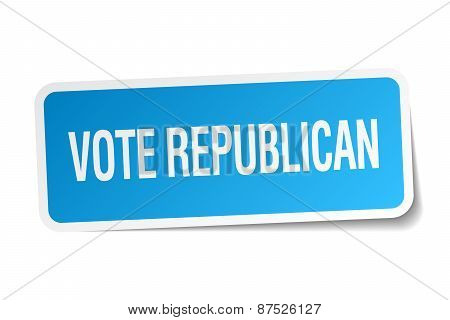 Vote Republican Blue Square Sticker Isolated On White