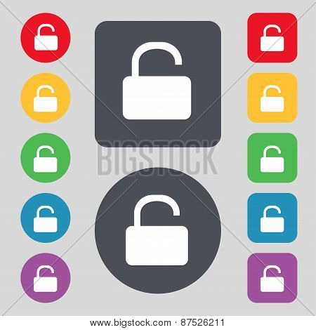 Open Padlock Icon Sign. A Set Of 12 Colored Buttons. Flat Design. Vector