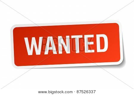 Wanted Red Square Sticker Isolated On White