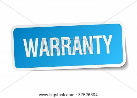 Warranty Blue Square Sticker Isolated On White