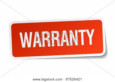 Warranty Red Square Sticker Isolated On White