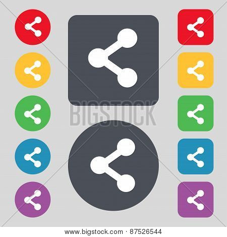 Share Icon Sign. A Set Of 12 Colored Buttons. Flat Design. Vector