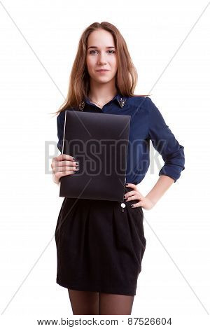 Young Student With Folder In Her Hand