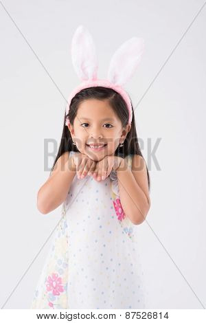 Girl in Easter bunny ears