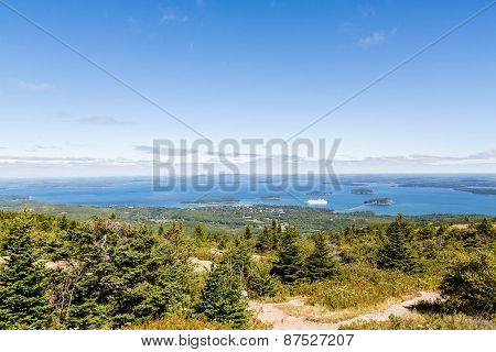 Cruise Ship In Distance From Cadillac Mountain