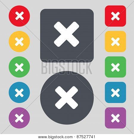 Cancel, Multiplication Icon Sign. A Set Of 12 Colored Buttons. Flat Design. Vector