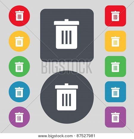 Recycle Bin, Reuse Or Reduce Icon Sign. A Set Of 12 Colored Buttons. Flat Design. Vector
