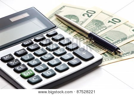 Calculator, Pen And Money Isolated