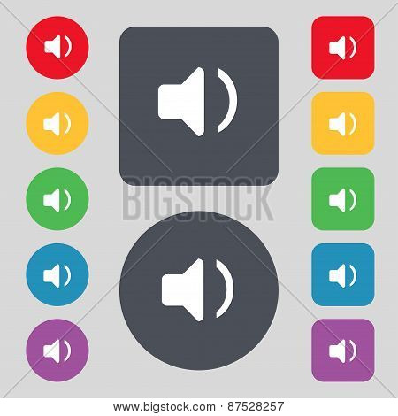 Speaker Volume, Sound Icon Sign. A Set Of 12 Colored Buttons. Flat Design. Vector