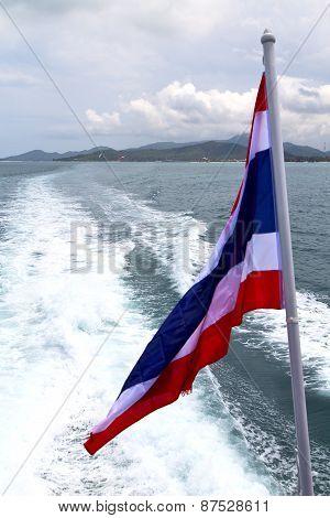 Asia Myanmar  Samui Bay Isle Waving Flag     And South China Sea