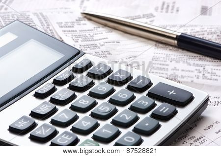Calculator, Pen, Receipts