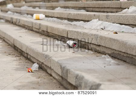 Dirty Stage Of Garbage On Street