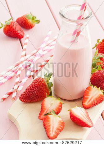 Milk With Fresh Strawberries