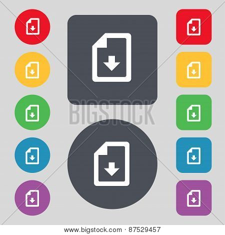 Import, Download File Icon Sign. A Set Of 12 Colored Buttons. Flat Design. Vector