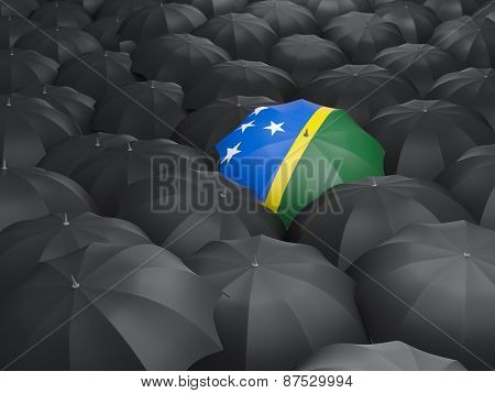 Umbrella With Flag Of Solomon Islands
