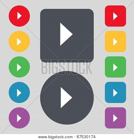 Play Button Icon Sign. A Set Of 12 Colored Buttons. Flat Design. Vector