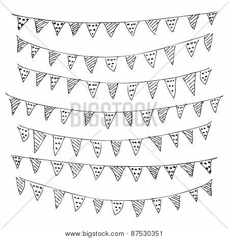 Hand Drawn Pen And Ink Style Illustration Of Bunting