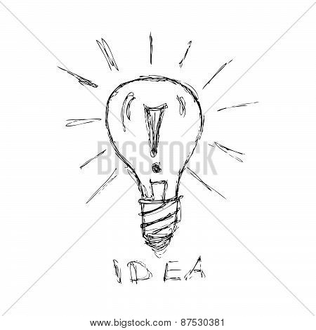 Hand Drawn Pen And Ink Style Illustration Of A Light Bulb