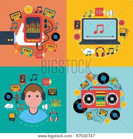 Music app consept 4 flat icons