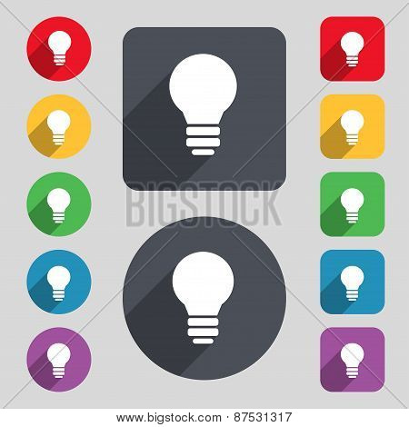 Light Lamp, Idea Icon Sign. A Set Of 12 Colored Buttons And A Long Shadow. Flat Design. Vector