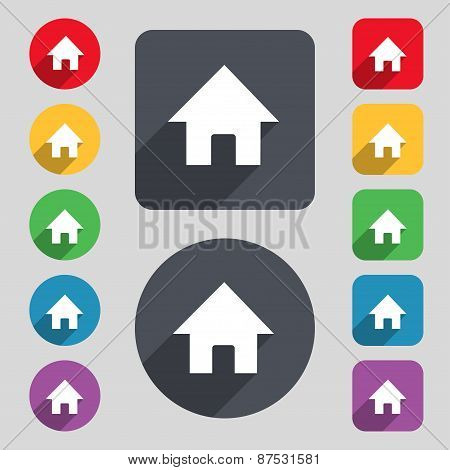 Home, Main Page Icon Sign. A Set Of 12 Colored Buttons And A Long Shadow. Flat Design. Vector