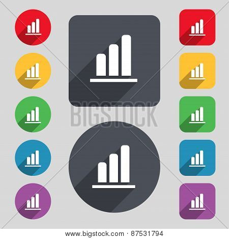 Growth And Development Concept. Graph Of Rate Icon Sign. A Set Of 12 Colored Buttons And A Long Shad