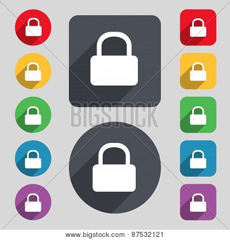 Pad Lock Icon Sign. A Set Of 12 Colored Buttons And A Long Shadow. Flat Design. Vector
